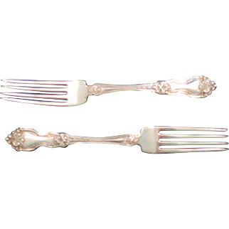 "Two Wallace La Reine Sterling Silver 7"" Forks - 1921 Pattern - No Monogram"