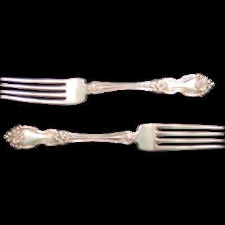 "Two Wallace La Reine Sterling Silver 7"" Forks - 1921 Pattern - No Monogram"