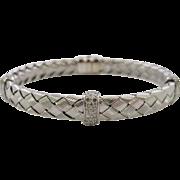 Italian 14 K White Gold Woven Design Diamond Bracelet