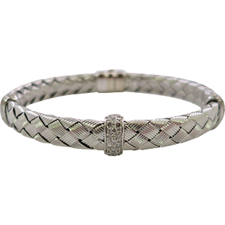 Italian 14 K White Gold Woven Design Diamond Bracelet
