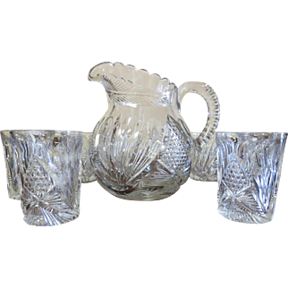 Libbey American Brillant Cut - ABC - Pitcher & Tumbler Set