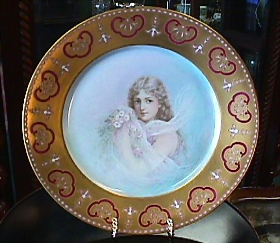 Limoges Handpainted Portrait Plate of Young Girl