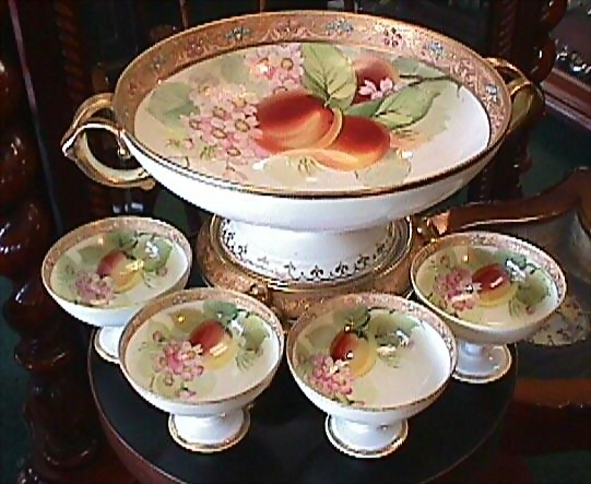Nippon Handpainted Punch Bowl & 4 Cups