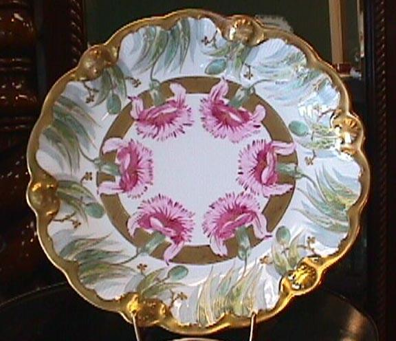 Limoges Plate Handpainted Carnations Heavy Gold