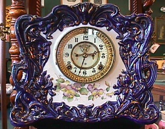 Cobalt Blue, Gold & Floral Ansonia Clock - 1881