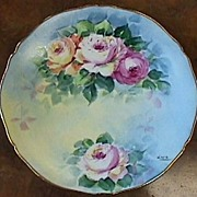 Hand Painted Limoges Plate - Lovely Roses & Gold #3