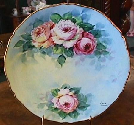 Hand Painted Limoges Plate - Lovely Roses & Gold #4