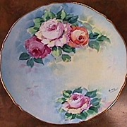 Hand Painted Limoges Plate - Lovely Roses & Gold #5