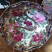 Nippon Cobalt & Gold Bowl - Handpainted Roses
