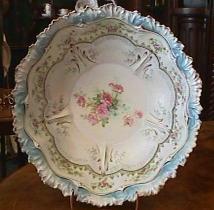 Huge R S Prussia Satin Finish Bowl With Roses