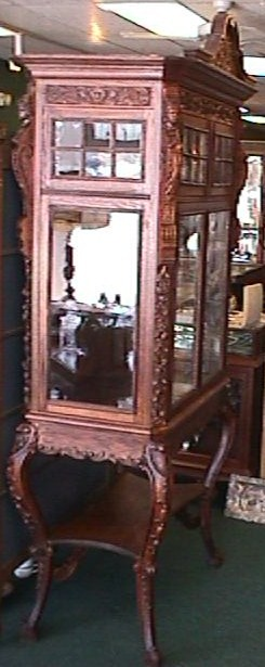Huge Victorian Oak Display Cabinet - Carved to Death!!!