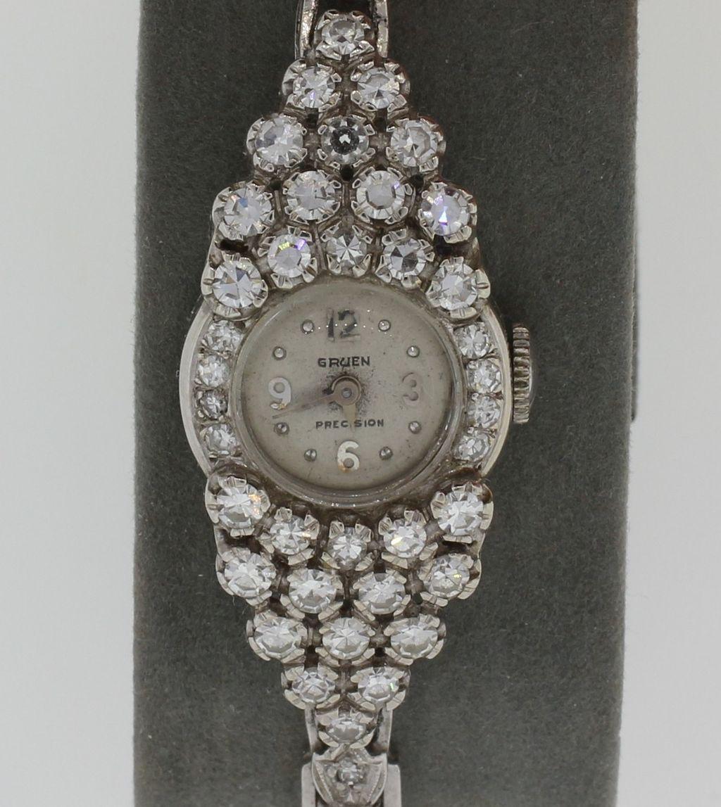 Deco Platinum VS Diamond Band with 14K White Gold Ladies Watch