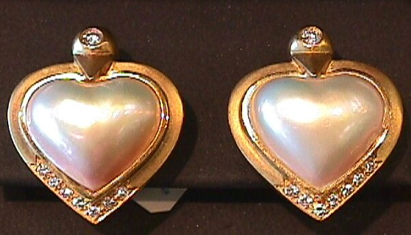 Marlene Stowe Mabe Cultured Pearl VS Diamonds 18K Earrings