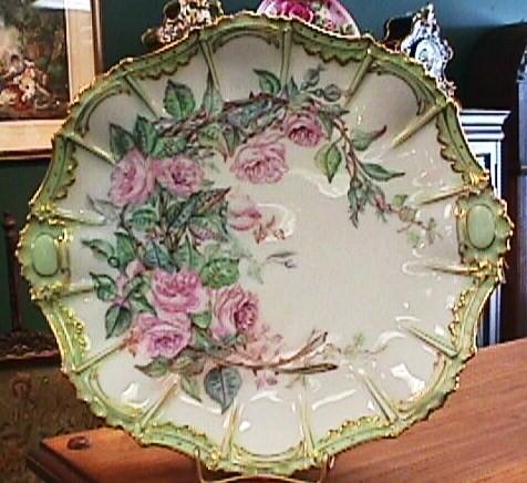 Antique Limoges Cake Plate - Pink Roses & Gold