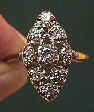 Lady's  Circa 1920s or 1930s 14 K White Gold Diamond Ring