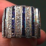 Lady's Platinum VS Diamond & Sapphire Ring