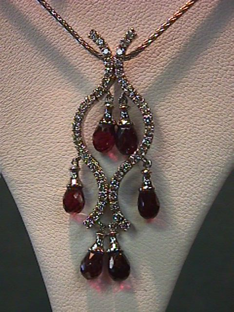 "Lady's 18"" 14K White Gold Chain with Ruby & VS Diamond Pendant"