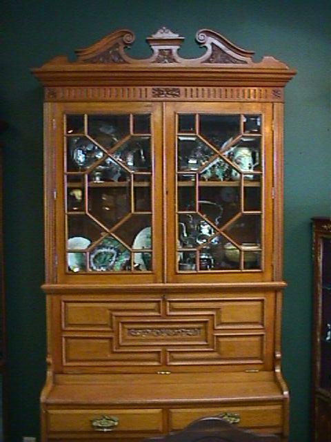 Victorian Ornately Carved Oak Secretary Desk