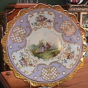 Heavy Gold Handpainted Victorian Courting Couple Plate