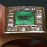 Lady's 14K Yellow Gold Emerald & Diamond Ring