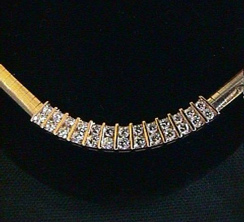 Heavy 4 mm 14K Omega Chain with VS & SI Diamonds