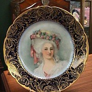 Limoges Plate Hand Painted Portrait of Lovely Lady - Cobalt & Gold