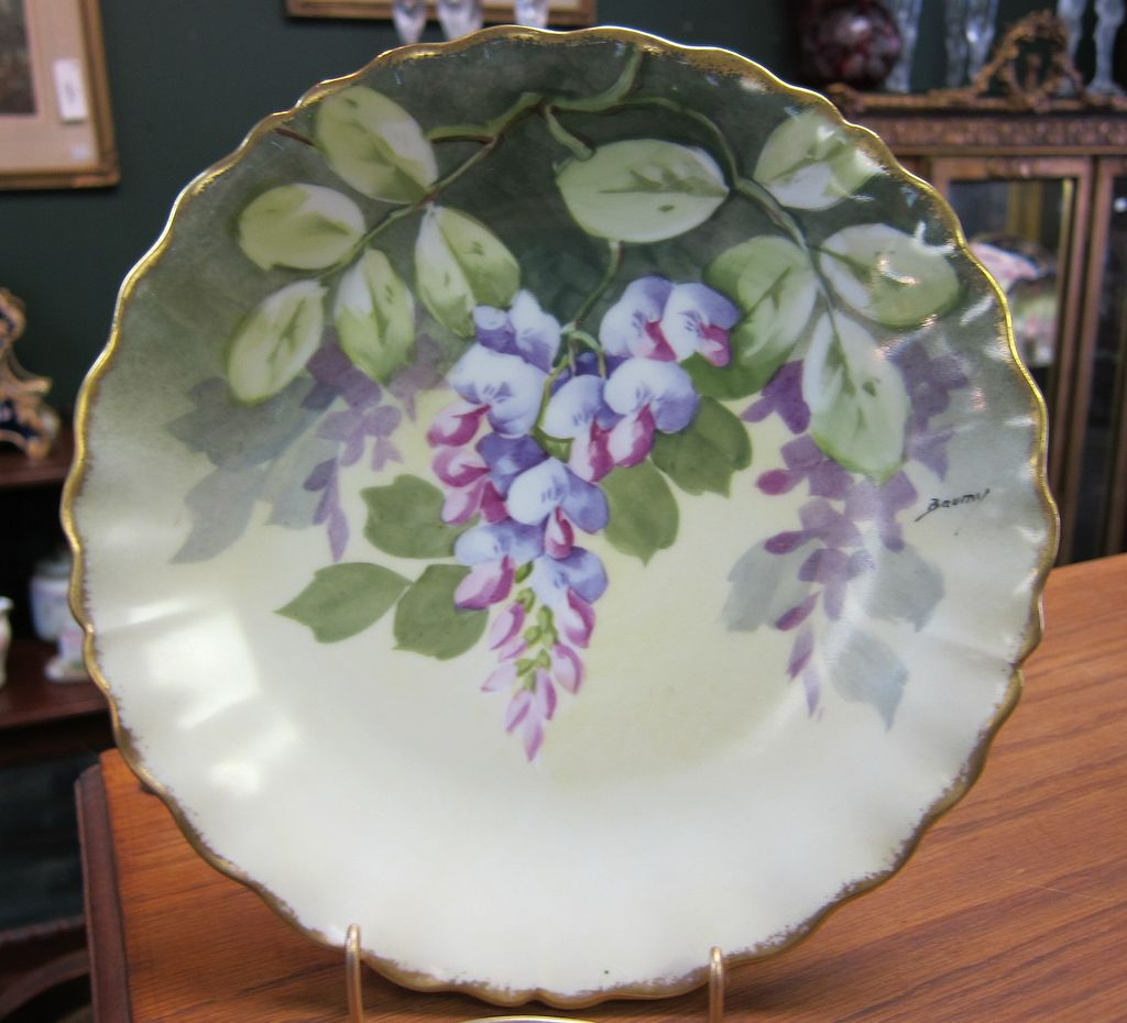 Limoges Blakeman and Henderson Wisteria Signed Plate