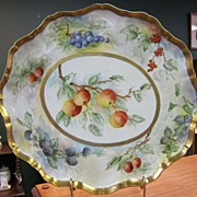 Large Hand Painted Limoges Tray with Fruits & Berries - Gold