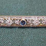 Lady's 14 KT VS Diamond and Sapphire Art Deco Bar Pin
