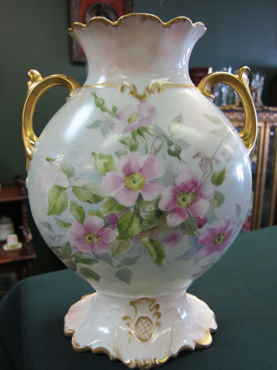 Limoges Handpainted Wild Rose Vase - Gold