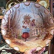 Limoges Portrait Plaque - Romantic Courting Scene