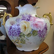 Limoges Hand Painted Pillow Vase - Roses & Gold