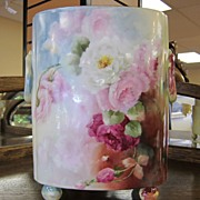 Large Limoges Cachepot with Roses