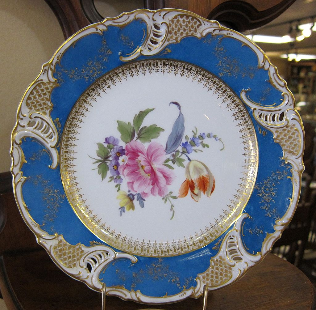 Ca. 1900 Nymphenburg Hand Painted Reticulated Plate #2