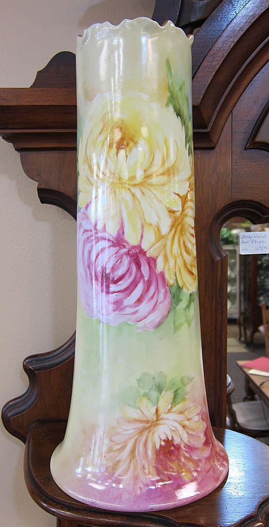 Gorgeous & Huge Handpainted Limoges Vase - Mums