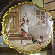 Huge & Lovely Limoges Hanging Hand Painted Plaque