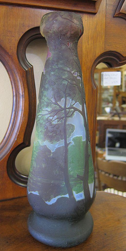 Large Legras Cameo Glass Multi-Color Vase
