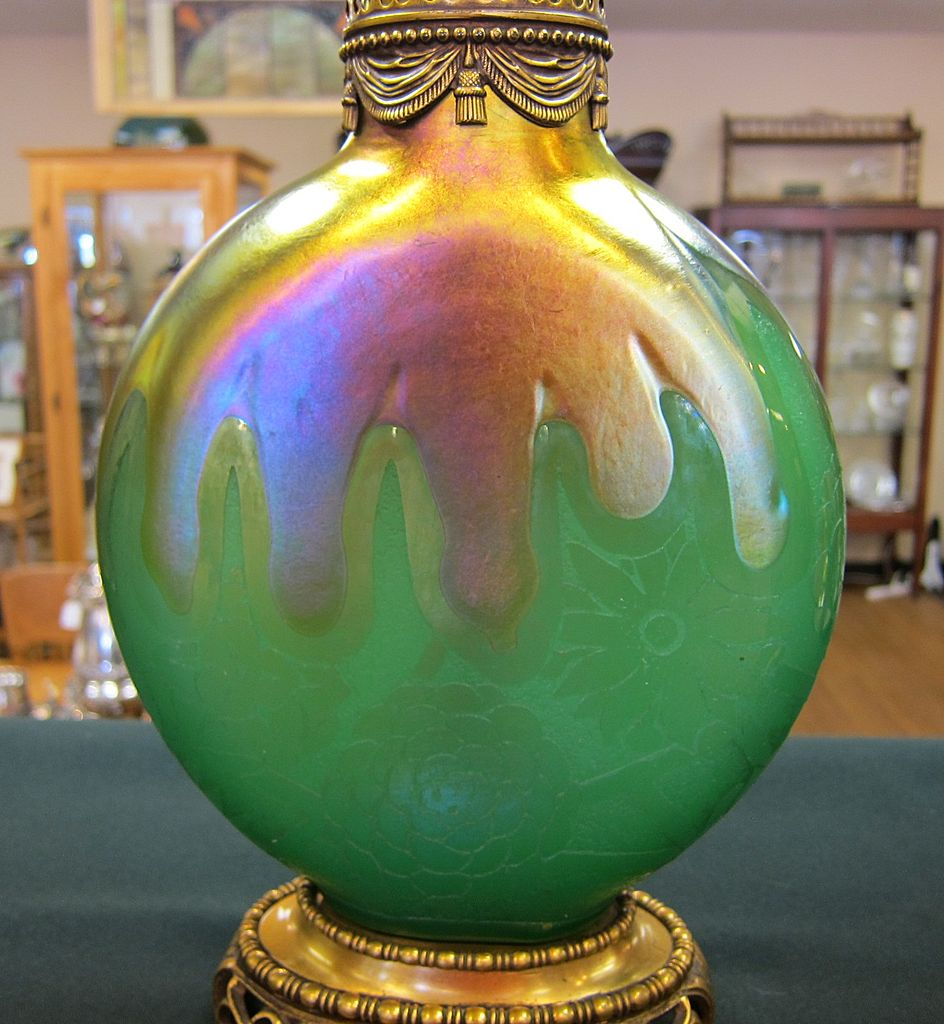 Steuben Art Glass Lamp - Acid Cut Back Jade Glass with Mums