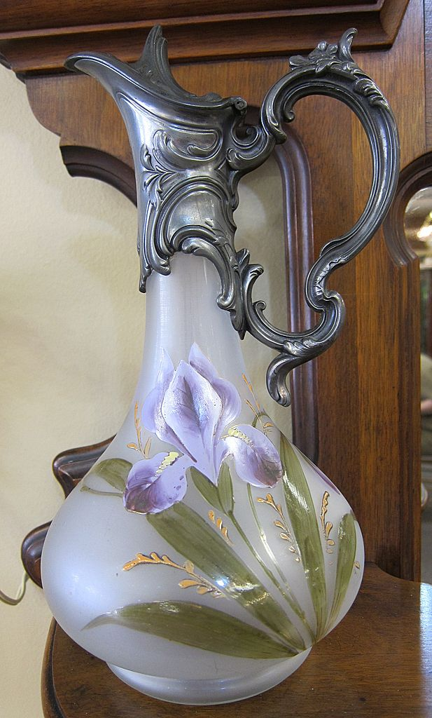 Victorian Satin Glass Ewer with Art Nouveau Pewter Top & Enameled Irises