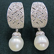 Pair of 18K White Gold Diamond & Pearl Drop Earrings