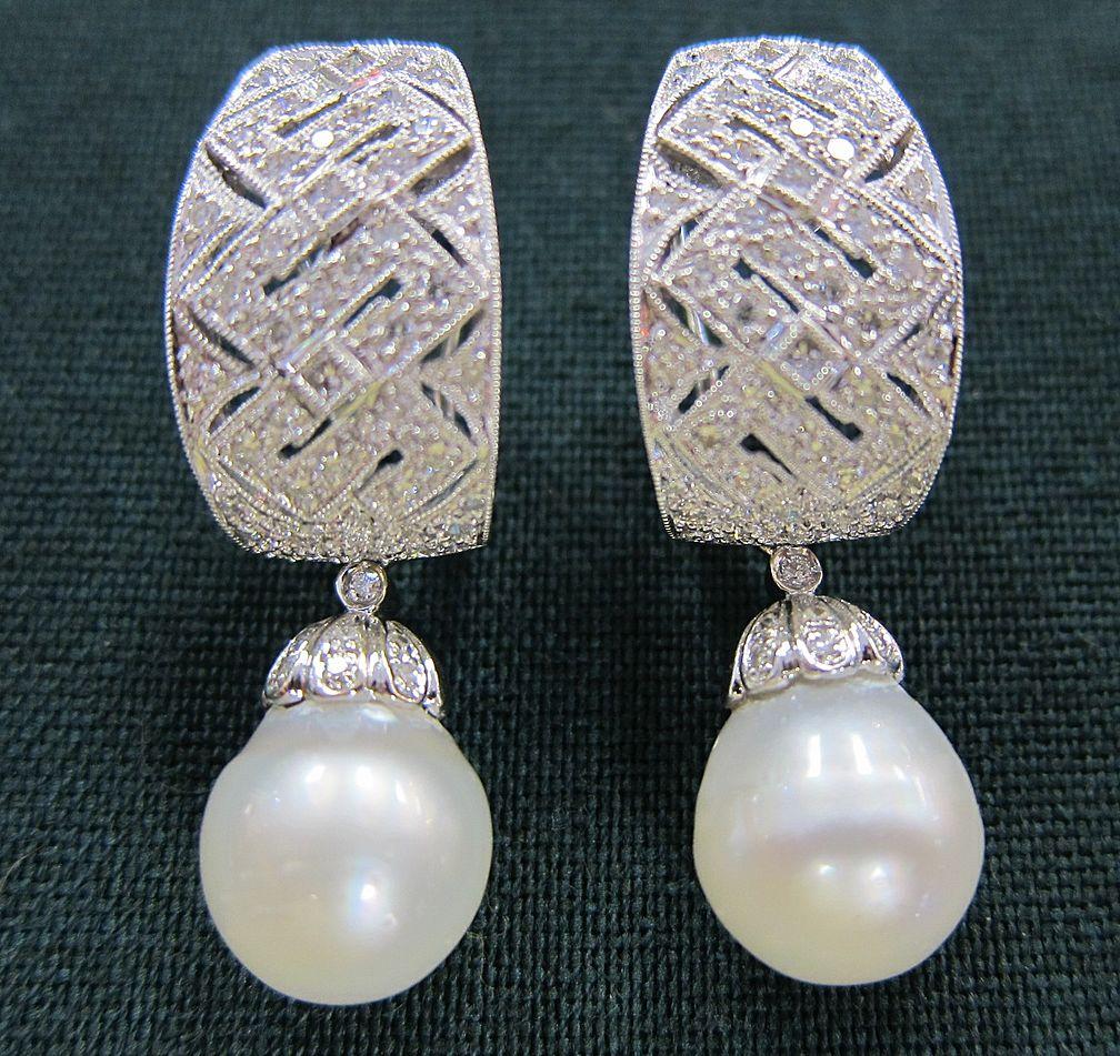 Pair of 18K White Gold Diamond & Pearl Drop Earrings