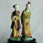 Chinese Porcelain Sancai Figures, Woman and Man