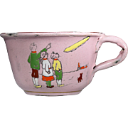 Childrens' Enameled Cups and Saucers with Zeppelin and Snowman