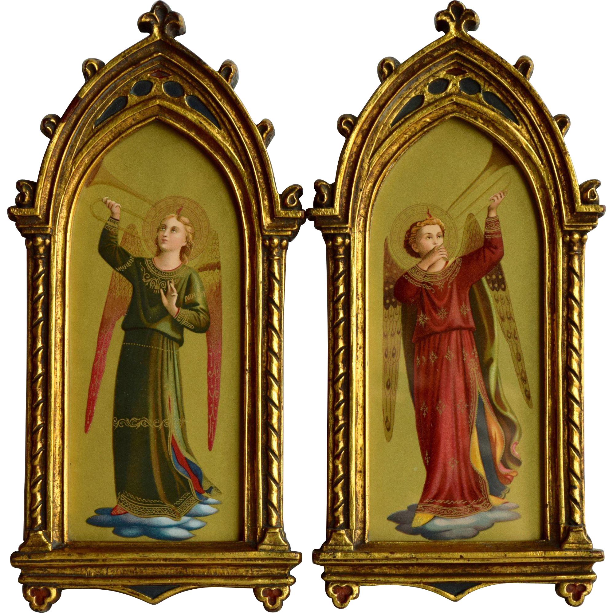 pair of gilt wood gothic picture frames with angel musicians after fra angelico