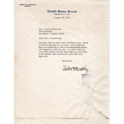 Signature of Senator Hubert H. Humphrey, 1974 U.S. Senate Stationery Letter