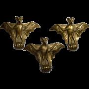 Art Nouveau Bronze Bat Mounts, Set of Three Bats