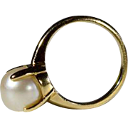 14K 8.5 mm Pearl Solitaire Four-Prong Ring
