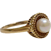 14K Pearl Solitaire Ring Yellow Gold