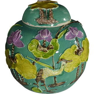 Chinese Lidded Ginger Jar with Applied Crane and Lotus