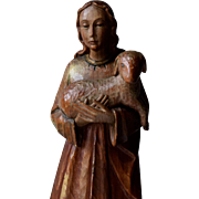 Italian Carved Wooden Figure, Statue of St. Agnes with Lamb